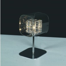 Impex Avignon Glass/Weaved Wire Cube Table Lamp