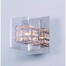Impex Avignon Glass/Weaved Wire Cube Wall Light