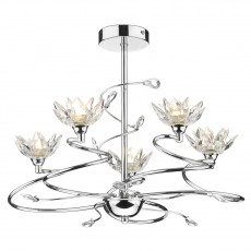 Dar  Poppy 5 Light Polished Chrome Semi Flush Light