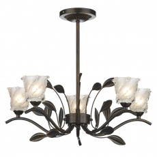 Dar  Prunella 5 Light Bronze Semi Flush Light