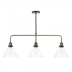 Dar Lighting Ray 3 Light Antique Brass Bar Pendant Clear