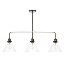 Dar Lighting Ray 3 Light Antique Brass Bar Pendant Clear