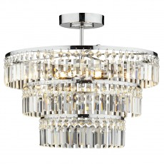Dar  Rowena 3 Light 3 Tier Semi Flush Polished Chrome