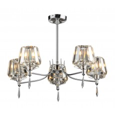Dar  Selina 5 Light Polished Chrome Semi Flush Light