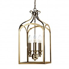 Dar Lighting Senator 3 Light Antique Brass Pendant