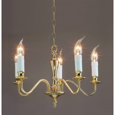 Impex Georgian 5 Light Pendant Light Polished Brass