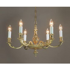 Impex Sandringham 6 Light Pendant Light Polished Brass
