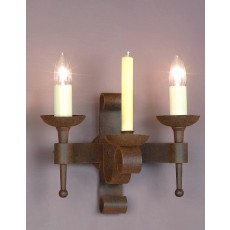 Impex Refectory 2 Light/1 Candle Wall Light Aged