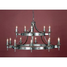 Impex Saxon 15 Light Pendant Light 2 Tier Sterling