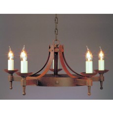 Impex Saxon 5 Light Pendant Light Aged