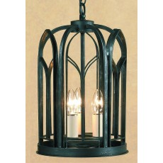 Impex Villa 3 Light Lantern Ant. Black