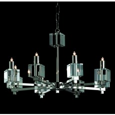 Impex Cube Halogen Chandelier Nickel 8 Light