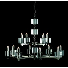 Impex Cube Halogen Chandelier Nickel 12 Light