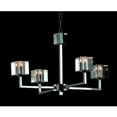 Impex Cube Modern Halogen Pendant 4 Light Nickel
