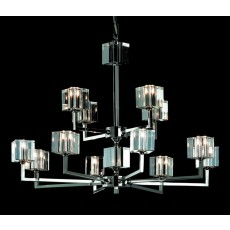 Impex Cube Modern Halogen Pendant 12 Light Nickel