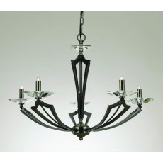 Impex Genoa Art Deco Pendant 5 Light Gunmetal