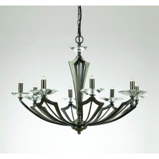 Impex Genoa Art Deco Pendant 8 Light Gunmetal