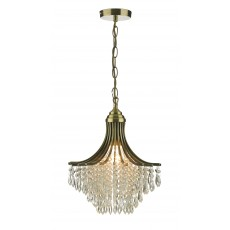 Dar  Suri 1 Light Pendant Antique Brass complete with Clear Beads
