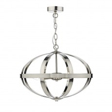 Dar Lighting Symbol 3 Light Satin Chrome Pendant