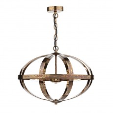 Dar Lighting Symbol 3 Light Copper Pendant Petrol