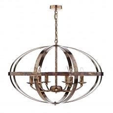 Dar Lighting Symbol 6 Light Copper Pendant Petrol