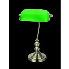 Impex Bankers Green Glass Ab Table Lamp