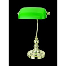 Impex Bankers Green Glass Pb Table Lamp