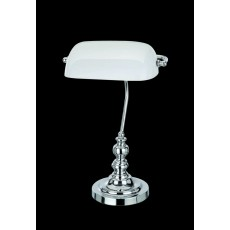 Impex Bankers White Glass Ch Table Lamp
