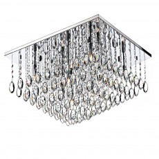 Dar ABA4750 Abacus 8 Light Square Polished Chrome Flush Crystal Light