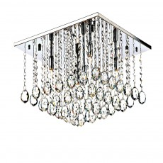 Dar Abacus 5 Light Square Polished Chrome Flush Crystal Light