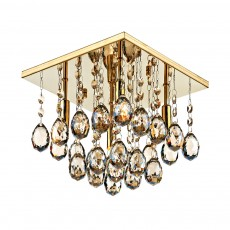 Dar Abacus 4 Light Square Gold Flush Crystal Light