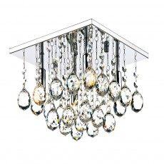 Dar Abacus 4 Light Square Polished Chrome Flush Crystal Light