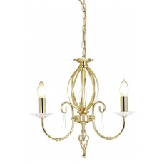 Elstead Aegean 3 Light Polished Brass Chandelier Light
