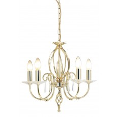 Elstead Aegean 5 Light Polished Brass Chandelier Light