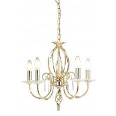Elstead Aegean 5 Light Polished Brass Chandelier Light