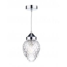 Dar Agatha 1 Light Polished Chrome Pendant Light