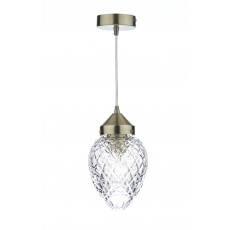 Dar Agatha 1 Light Antique Brass Pendant Light