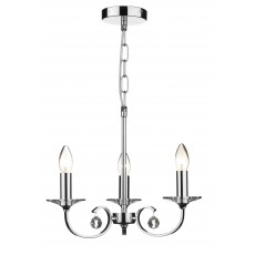 Dar Allegra 3 Light Polished Chrome Pendant Light