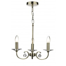 Dar Allegra 3 Light Antique Brass Pendant Light
