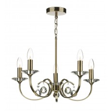 Dar Allegra 5 Light Antique Brass Pendant Light