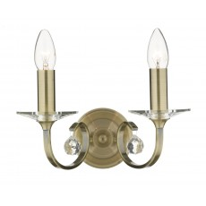 Dar Allegra Antique Brass Double Wall Light