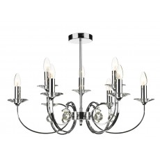 Dar Allegra 9 Light Polished Chrome Pendant Light