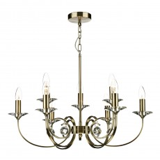 Dar Allegra 9 Light Antique Brass Pendant Light