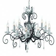 Elstead Amarilli 10 Light Black/Silver Chandelier Light