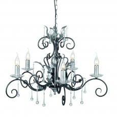 Elstead Amarilli 5 Light Black/Silver Chandelier Light