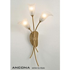 Diyas Ancona Wall Lamp 3 Light Satin French Gold/Frosted Glass