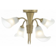 Diyas Ancona Semi Ceiling 4 Light Satin French Gold/Frosted Glass