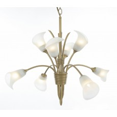 Diyas Ancona Pendant 8 Light Satin French Gold/Frosted Glass
