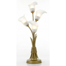 Diyas Ancona Table Lamp With In-Line Switch 4 Light Satin French Gold/Frosted Glass
