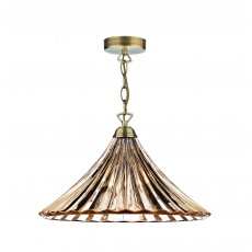 Dar Ardeche 1 Light Antique Brass Large Pendant Light